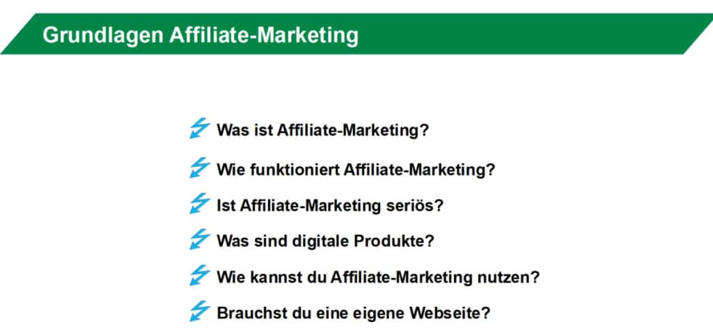 Affiliate Marketing Anfängerkurs Inhalte